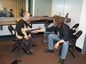 "Dan demonstrates Viridis Guitar to Chris ""Lumpy"" Hofscheiner, guitar tech for Richie Sambora"